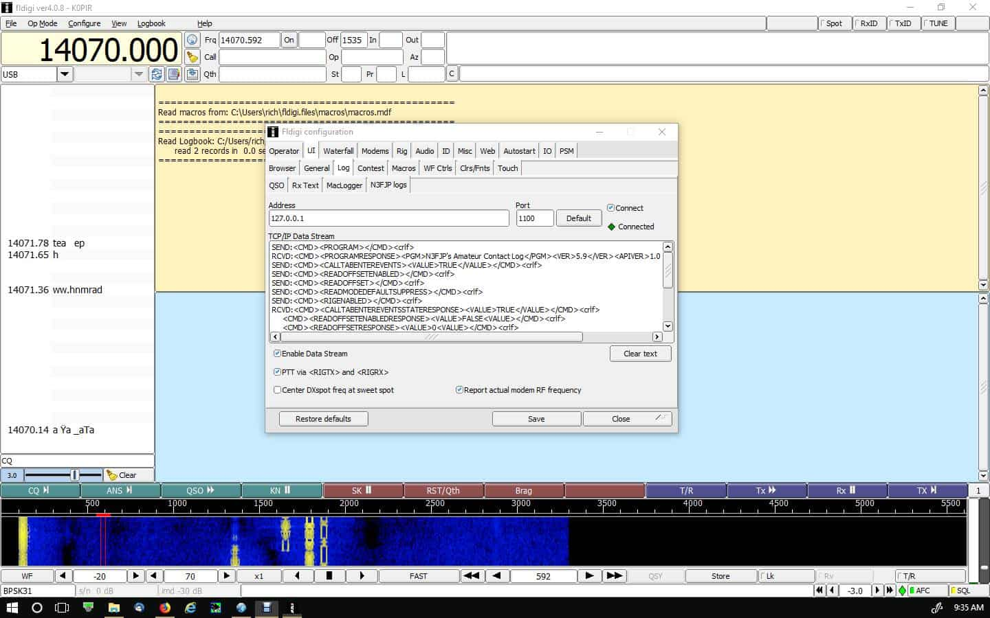 Icom 7610 Rig Control Using N3FJP Amateur Contact Log and Fldigi