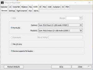 Icom 7610 FlDigi RigCAT and Portaudio