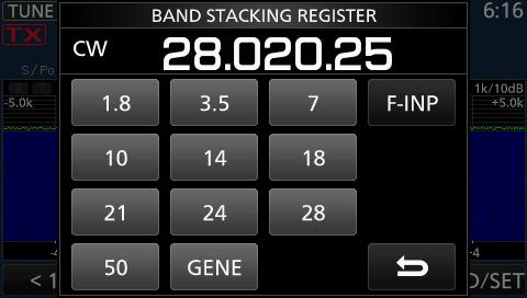 band stacking icom 7300