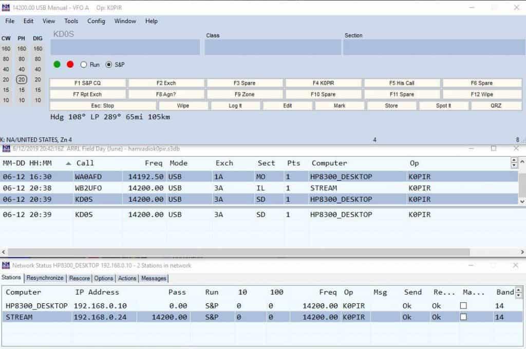 N1MM Logger+ field day log